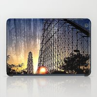 coasters iPad Cases featuring Mamba Roller Coaster at Sunset Grunge by The Eclectic Mind
