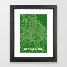 Guadalajara Streets Map Framed Art Print