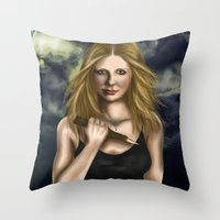 buffy Throw Pillows featuring Buffy Summers by Jade Todd