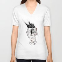 army V-neck T-shirts featuring robot army by Tom Kitchen
