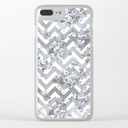 Vintage chic elegant blue gray white geometrical floral pattern Clear iPhone Case