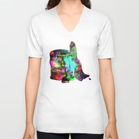 splatter V-neck T-shirts featuring Paint splatter  by Sammycrafts