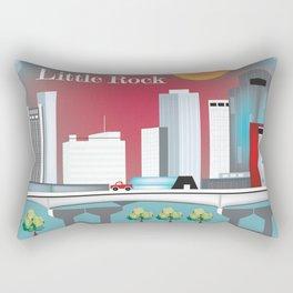 Little Rock, Arkansas - Skyline Illustration by Loose Petals Rectangular Pillow