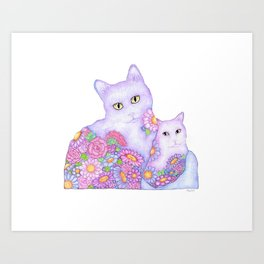 Bart and Clay - A Portrait of Two Cats  Art Print