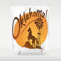 oklahoma Shower Curtains featuring Oklahoma by Jacinta Eve