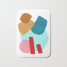 Minimalist Abstract Fun MidCentury Colorful Shapes Teal Blue Pastel Red pink Geometric Organic Shape Bath Mat