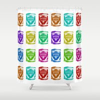 soviet Shower Curtains featuring Condensed Milk (Sgushchennoye Moloko) V2 by Karolis Butenas