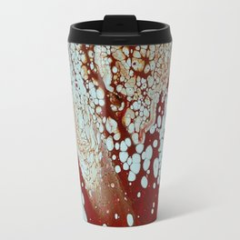 Red Fluid Cell Pour Abstract Painting Travel Mug