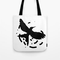 mockingjay Tote Bags featuring MockingJay Revolution  by Lauren Lee Design's