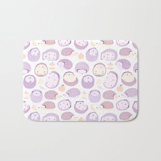 Happy Hedgies - Kawaii Hedgehog Doodle Bath Mat