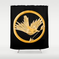 mockingjay Shower Curtains featuring Mockingjay by AriesNamarie