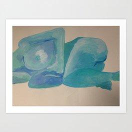 Blue woman on her side Art Print