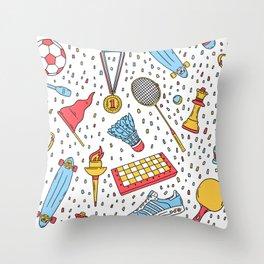 Summer sports pattern Throw Pillow