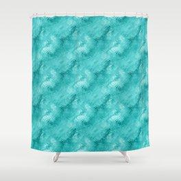 Cyan Crystal Glass Pattern Shower Curtain