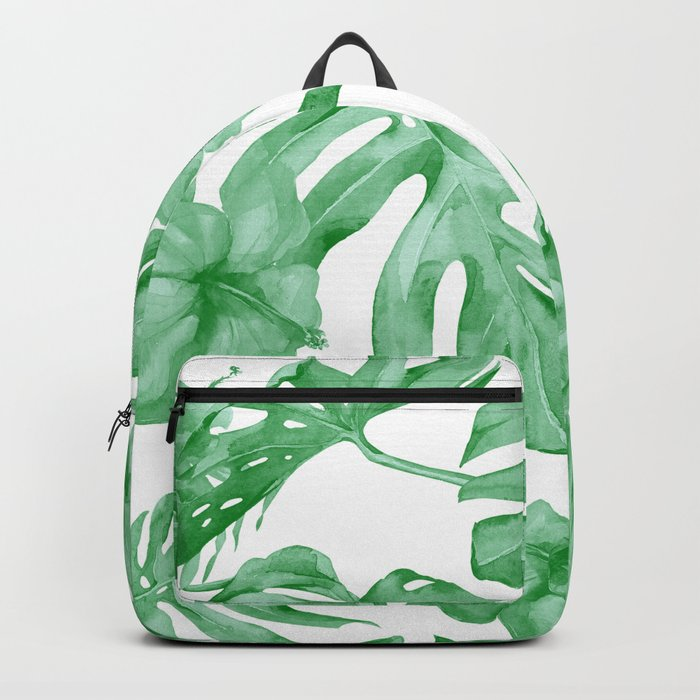 Tropical Island Leaves Green on White Backpack