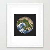 hokusai Framed Art Prints featuring Hokusai Cthulhu by Marco Mottura - Mdk7