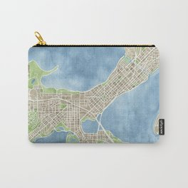 City Map Madison Wisconsin watercolor  Carry-All Pouch