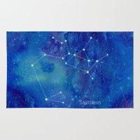 constellation Area & Throw Rugs featuring Constellation Sagittarius  by ShaMiLa