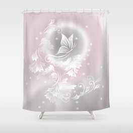 Blush Gray Floral Butterfly Fantasy Shower Curtain