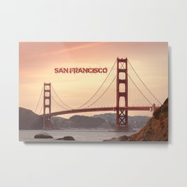 Golden Gate Bridge San Francisco With City Name Metal Print