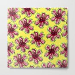 Geraldton Wax Flowers on Yellow - Australian Native Flower Metal Print