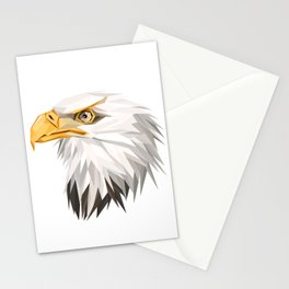 Triangular Geometric American Bald Eagle Head Stationery Cards