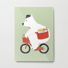 Polar bear postal express Metal Print