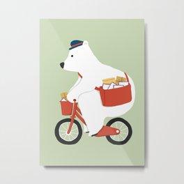 Polar bear postal express Metal Print