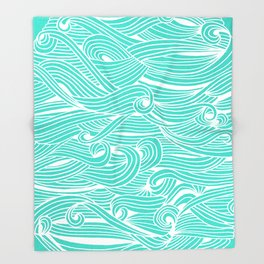 Water Drop – White on Turquoise Throw Blanket