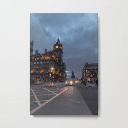 Edinburgh Evening Lights Metal Print