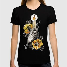 Hand holding CANDLE - tattoo T-shirt