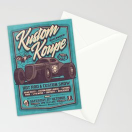 Vintage Style Fictional Halloween Hot Rod Show - Cyan Stationery Cards
