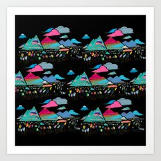 candy mountains over lollipop trees Art Print