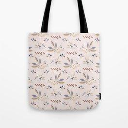 Pink Natural Leaf Berry Branch Vector Pattern, Tote Bag