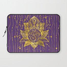 Gold Lotus flower and OM symbol Laptop Sleeve