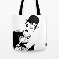 chaplin Tote Bags featuring Chaplin by Vee Ladwa