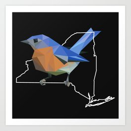 New York - Eastern Bluebird (Black) Art Print