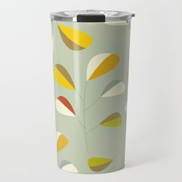 Mid Century Modern Graphic Leaves Pattern 1. Vintage green Travel Mug