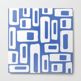 Retro Mid Century Modern Abstract Pattern 335 Blue Metal Print