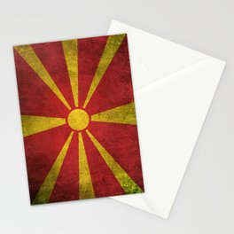 Old and Worn Distressed Vintage Flag of Macedonia Stationery Cards