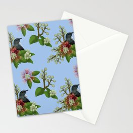 Tui in Pohutukawa Flowers Stationery Cards