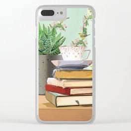 Tea and book love Clear iPhone Case
