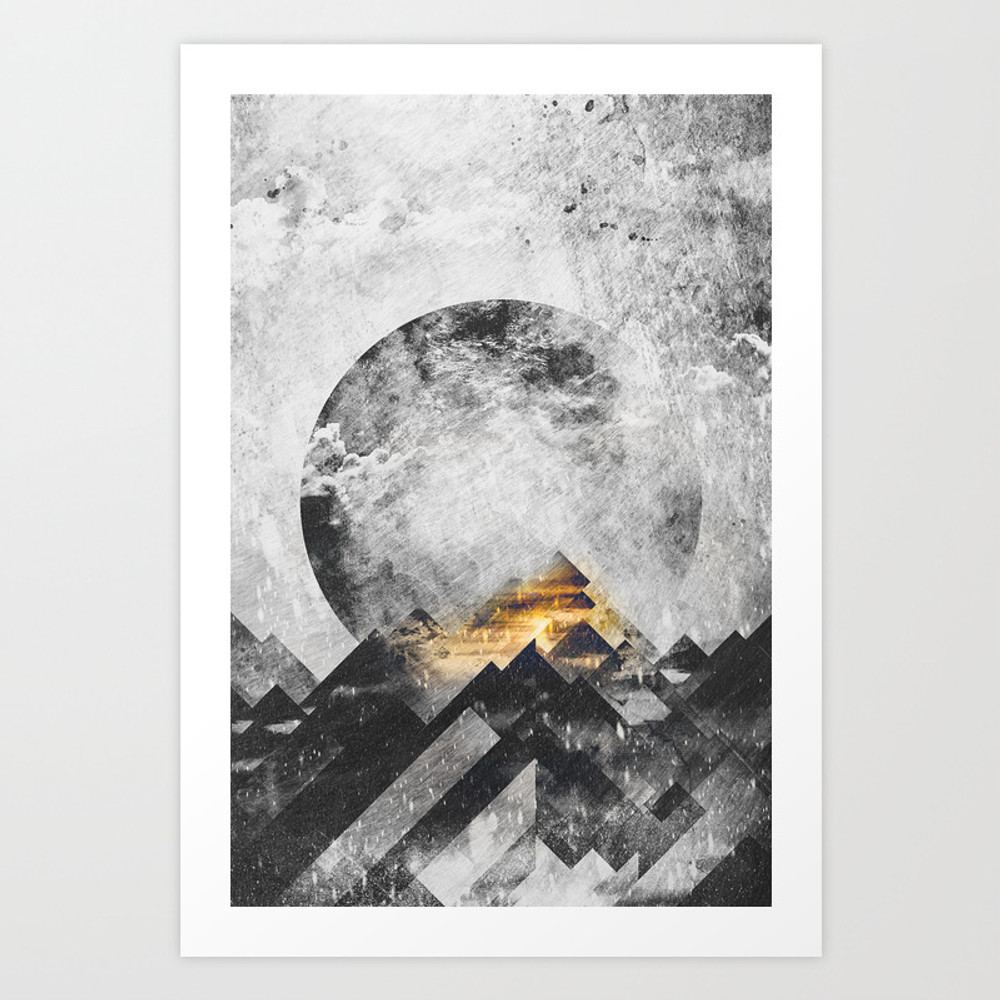 One Mountain At A Time - Black And White Art Print by Happymelvin