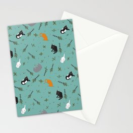 Cat Party Catnip Illustrated Print Pattern Stationery Cards