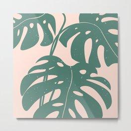 Monstera Print, Pink and Green, Palm Tree Art Metal Print