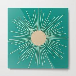 Mid-Century Modern Sunburst - Minimalist Abstract Sun in Mid Mod Beige and Turquoise Teal Metal Print