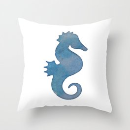 Watercolor Seahorse by Lo Lah Studio Throw Pillow