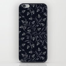 Delicate leaves on a black background . iPhone & iPod Skin