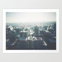 cityscape Art Prints featuring Cityscape by Melanie McKay