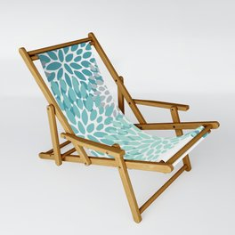 Floral Pattern, Aqua, Teal, Turquoise and Gray Sling Chair